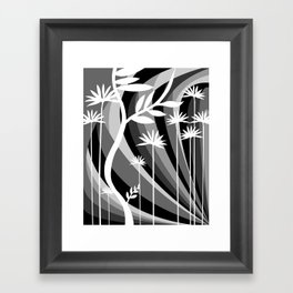 Black and White Botanical Illustration Curved Background and Plants Framed Art Print