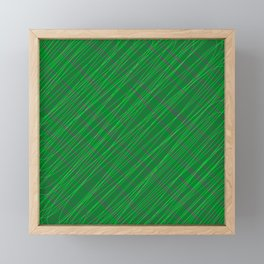 Wicker ornament of their green threads and blue intersecting fibers. Framed Mini Art Print