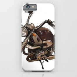 Classic motorcycle original handmade drawing. Gift for bikers iPhone Case