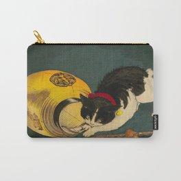 Kobayashi Kiyochika Black & White Cat Fluffy Cat Japanese Lantern Vintage Woodblock Print Carry-All Pouch