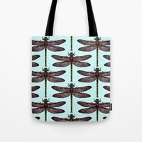 dragonfly Tote Bags featuring dragonfly by Sharon Turner
