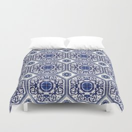 Portuguese Tiles Azulejos Blue and White Pattern Duvet Cover