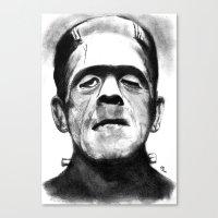 frankenstein Canvas Prints featuring Frankenstein by Zombie Rust