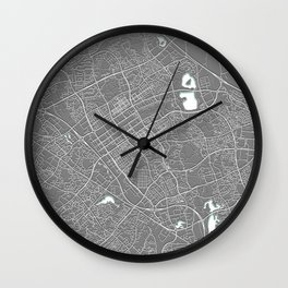Milton Keynes, England, Grey, City, Map Wall Clock