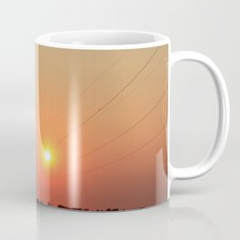 Kansas Sunset with Power Line and Poles Silhouettes Coffee Mug
