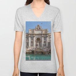 Trevi Fountain at early morning - Rome, Italy Unisex V-Neck