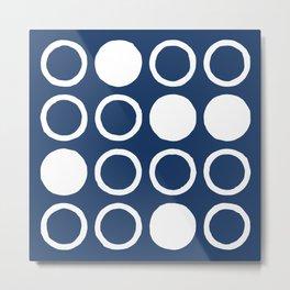 Mid Century Modern Circle and Dot Pattern 240 Navy Blue Metal Print