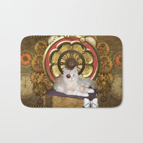 Steampunk, cute cat Bath Mat