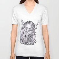 sister V-neck T-shirts featuring Begonia's Sister by April Alayne