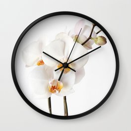 White Orchid Wall Clock