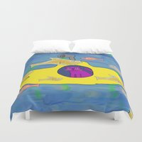 yellow submarine Duvet Covers featuring Purple Cat is in his submarine  by David Abse