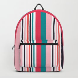 Cute and colorful orange,white,black,pink and teal striped pattern Backpack