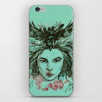 viria iPhone & iPod Skins featuring Crow queen by viria