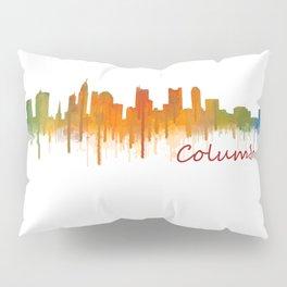 Columbus Ohio, City Skyline, watercolor  Cityscape Hq v2 Pillow Sham