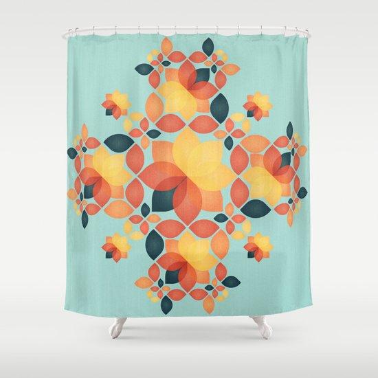 Orange Garden Pattern Shower Curtain