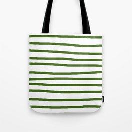 Simply Drawn Stripes in Jungle Green Tote Bag