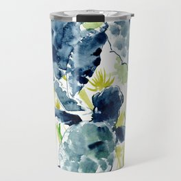 Sea Turtles , Indigo Blue Olive green Turtle art Travel Mug