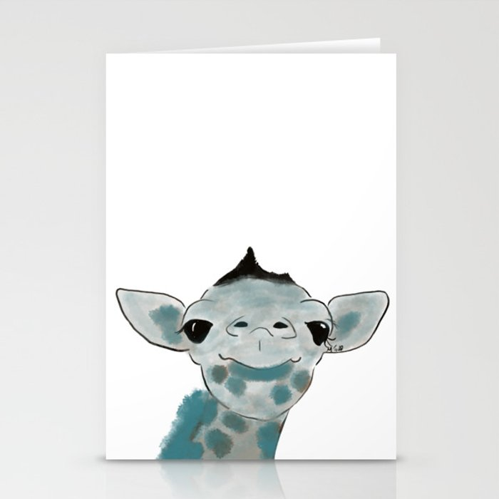 Happy Baby Giraffe // Giraffe In Watercolor Blue and Gray Stationery Cards