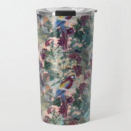 Tiled Parrots and Flora Pattern Travel Mug