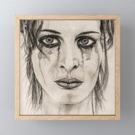 Crying girl - Drawing in pencil Framed Mini Art Print