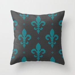 Modern textured Fleur de Lis pattern teal on black Throw Pillow