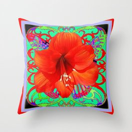 Italian  Style Design Red Amaryllis Abstract Throw Pillow