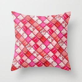 Faux Patchwork Quilting - Pink and Red Throw Pillow