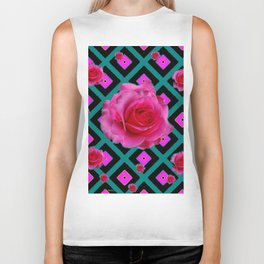 Black-Teal Fuchsia Pink Roses  Patterns Biker Tank