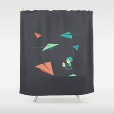 Girl Watching Paper Planes Shower Curtain