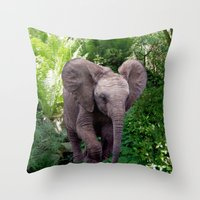 baby elephant Throw Pillows featuring Baby Elephant by Erika Kaisersot