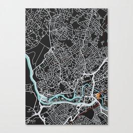 Bristol Map (noir) Canvas Print