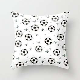 Fun grass and soccer ball sports illustration pattern Throw Pillow