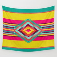 caleb troy Wall Tapestries featuring FIESTA by Bianca Green
