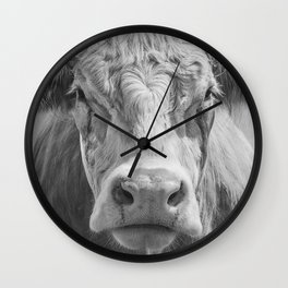 Animal Photography | Highland Cow Portrait Black and White | Farm Animals Wall Clock
