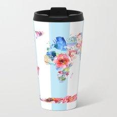 Floral World Stripe Metal Travel Mug