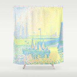 """Paul Signac """"Evening (The Jetty of Vlissingen) (Abend-La jetée de Flessingue)"""" from the journal Pan Shower Curtain"""