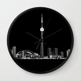 Toronto Skyline - White on Black Wall Clock