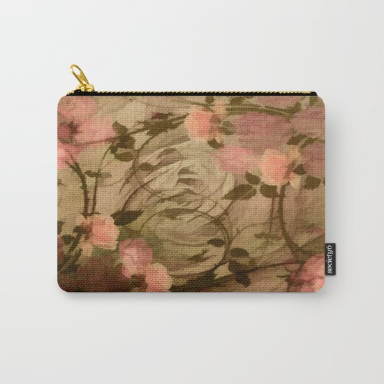 Vintage Pink Roses Abstract Carry-All Pouch