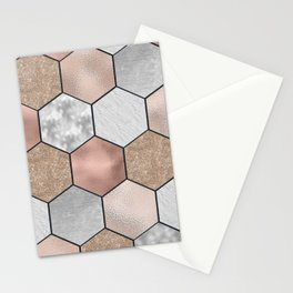Marble hexagons and rose gold on black Stationery Cards