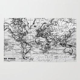 World Map (1899) White & Black Rug