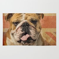 english bulldog Area & Throw Rugs featuring English Bulldog, Great Britain flag ! by Life on White Creative