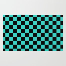Black and Turquoise Checkerboard Rug