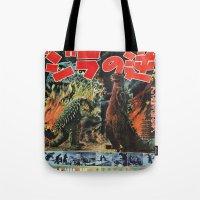 godzilla Tote Bags featuring Godzilla by Golden Boy