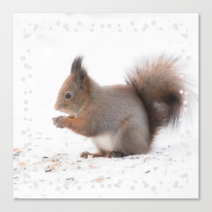 Squirrel And Lunch Pause Winter Scene #decor #society6 #buyart Canvas Print