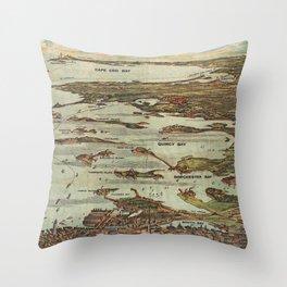 Boston Harbor Birds-Eye View Map Throw Pillow