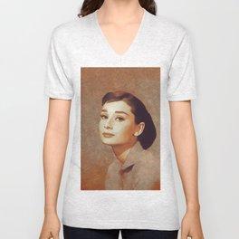 Audrey Hepburn, Hollywood Legend Unisex V-Neck