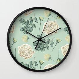 Rose Pattern Cream + Mint Green Wall Clock