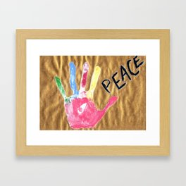 Color print of palm with word peace Framed Art Print