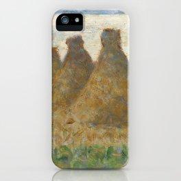 Haystacks (ca. 1882) by Georges Seurat. iPhone Case