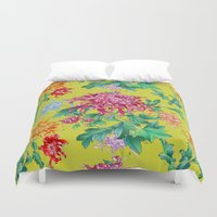 oriental Duvet Covers featuring Oriental Flowers by Chicca Besso